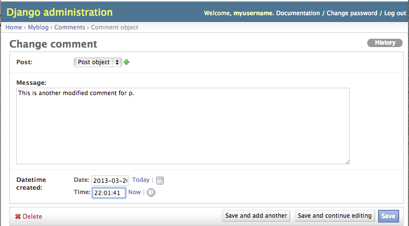 Django Admin Page Modify Comment Object Continue