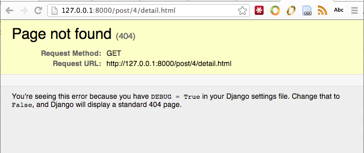 Django Post Detail 404 Error Page