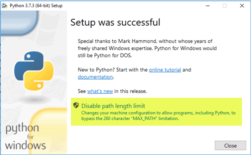 success-python-installation