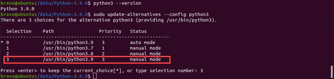 command to configure Python 3: sudo update-alternatives --config python3