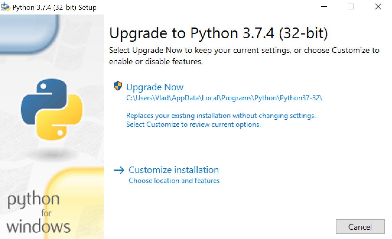 Upgrade to Python 3.7.4 prompt window
